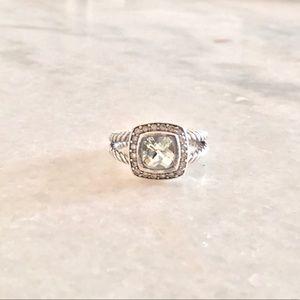 David Yurman Albion Ring w Prasiolite & Diamonds